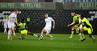 Pictured: Oliver McBurnie of Swansea City (C) passes the ball to Adam King of Swansea City (R) who then scored his second goal Monday 15 May 2017<br />