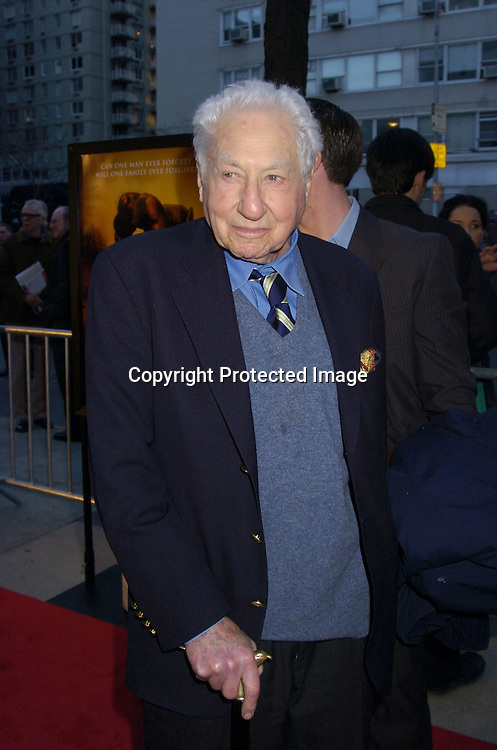 """Budd Schulberg..at the World Premiere of """"Ring of Fire: The Emile Griffith Story"""" at The Beekman Theatre on April 13, 2005 ...The film was directed by Dan Klores and Ron Berger..and will be shown on USA Network on April 20, 2005. ..Photo by Robin Platzer, Twin Images..."""