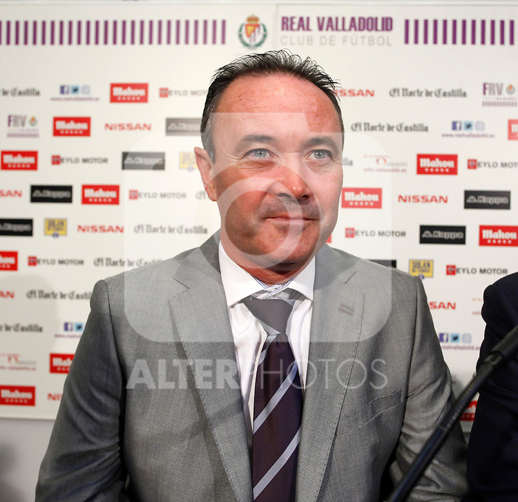 Juan Ignacio Martinez during his official presentation as Real Valladolid´s new coach in Jose Zorrilla football stadium, in Valladolid, Spain. June 18, 2013. (Victor J Blanco/Alterphotos)