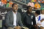 20 September 2014: Cosmos head coach Giovanni Savarese (VEN) (left) with assistant coach Carlos Llamosa (COL) (right). The Carolina RailHawks played the New York Cosmos at WakeMed Stadium in Cary, North Carolina in a 2014 North American Soccer League Fall Season match. Carolina won the game 5-4.