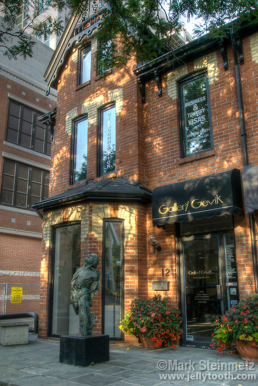 Dappled sunlight on Gallery Gevik in the trendy neighborhood of Yorkville, Toronto, Ontario
