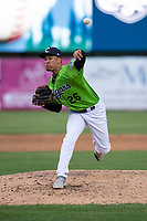 Kane County Cougars relief pitcher Kenny Hernandez (26) during a Midwest League game against the Cedar Rapids Kernels at Northwestern Medicine Field on April 28, 2019 in Geneva, Illinois. Cedar Rapids defeated Kane County 3-2 in game two of a doubleheader. (Zachary Lucy/Four Seam Images)
