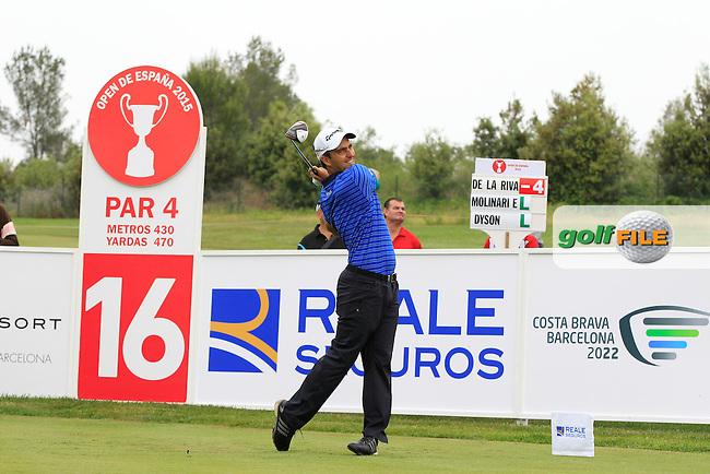 Edoardo Molinari (ITA) on the 16th tee during Round 1 of the Open de Espana  in Club de Golf el Prat, Barcelona on Thursday 14th May 2015.<br /> Picture:  Thos Caffrey / www.golffile.ie