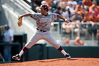Texas A&M Aggies pitcher Estevan Uriegas #35 delivers during the NCAA baseball game against the Texas Longhorns on April 29, 2012 at UFCU Disch-Falk Field in Austin, Texas. The Longhorns beat the Aggies 2-1 in the last ever regular season game scheduled for the long time rivals. (Andrew Woolley / Four Seam Images)