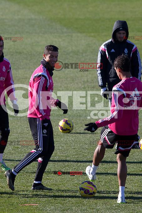 Cristiano Ronaldo during a training at Real Madrid City in Madrid. January 23, 2015. (ALTERPHOTOS/Caro Marin) /NortePhoto<br /> NortePhoto.com