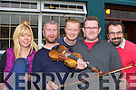 Lisa Donnegan, Paul Burke, Christopher O'Brien, Tom Rea and Sean O'Brien Killarney on the fiddle in Kearney's bar at the Padraig O'Keeffe festival in Castleisland on Monday