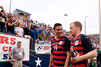 East Hartford, CT - Saturday July 01, 2017: Alejandro Bedoya, Dax McCarty during an international friendly match between the men's national teams of the United States (USA) and Ghana (GHA) at Pratt & Whitney Stadium at Rentschler Field.