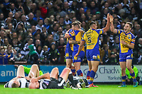 Picture by Alex Whitehead/SWpix.com - 29/09/2017 - Rugby League - Betfred Super League Semi-Final - Leeds Rhinos v Hull FC - Headingley Carnegie Stadium, Leeds, England - Leeds players celebrate the victory.