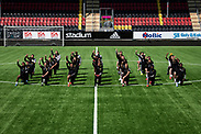 OSTERSUND, SWEDEN - JUNE 09: The players of Ostersunds FK kneel down in support of the Black Lives Matter Movement during the Ostersunds FK training session at Jamtkraft Arena on June 09, 2020 in Ostersund, Sweden. (Photo by David Lidström Hultén/LPNA)