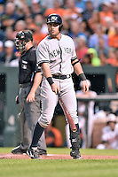 New York Yankees catcher Francisco Cervelli #29 during a game against the Baltimore Orioles at Oriole Park at Camden Yards August 11, 2014 in Baltimore, Maryland. The Orioles defeated the Yankees 11-3. (Tony Farlow/Four Seam Images)