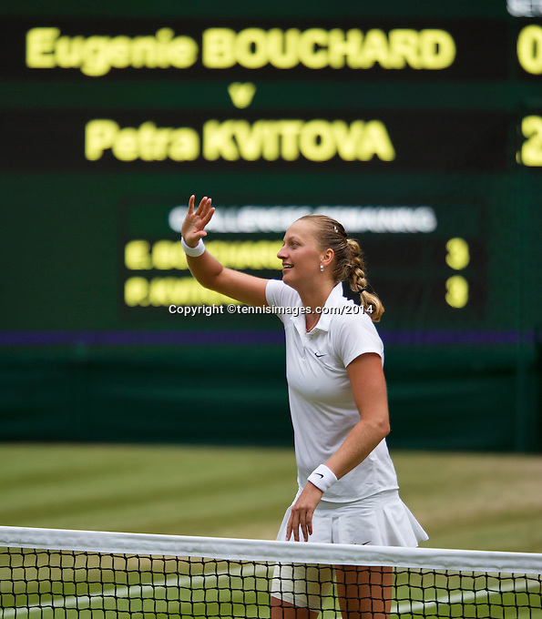 July 5, 2014, United Kingdom, London, Tennis, Wimbledon, AELTC, Ladie's Singles Final:  Eugenie Bouchard (CAN)  vs Petra Kvitova (CZE), Pictured: Petra Kvitova  celebrates her victory.<br /> Photo: Tennisimages/Henk Koster