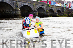 Margaret Griffin and Tracey Murphy celebrate finishing at the annual Killorglin raft race on Friday evening