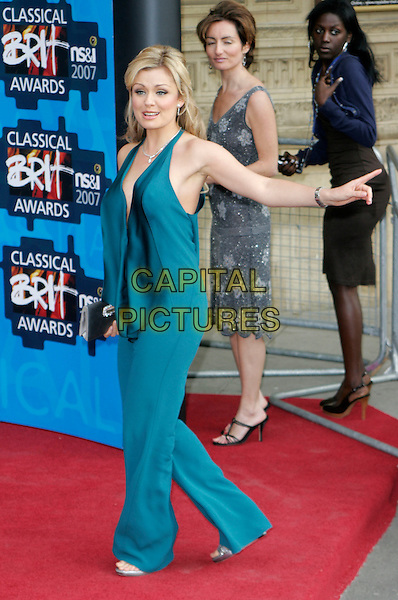 KATHERINE JENKINS.The Classical Brit Awards 2007, Royal Albert Hall, London, England. .May 3rd, 2007.full length jumpsuit catherine green blue turquoise catsuit trousers pantsuit halterneck silver clutch purse hand .CAP/AH.©Adam Houghton/Capital Pictures