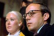 John Dean (with wife Maureen) testifies before the Senate Watergate committee,  June 1973 - A break in at the Democratic National Committee headquarters at the Watergate complex on June 17, 1972 results in one of the biggest political scandals the US government has ever seen.  Effects of the scandal ultimately led to the resignation of  President Richard Nixon, on August 9, 1974, the first and only resignation of any U.S. President.