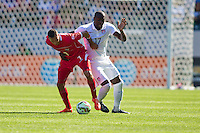 Carson, CA - Sunday, February 8, 2015 Jozy Altidore (17) of the USMNT and Blas Perez (7) of Panama. The USMNT defeated Panama 2-0 at the StubHub Center.