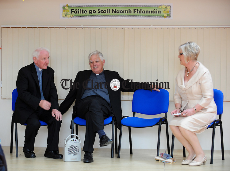 Fr Sean Sexton, Bishop Willie Walsh and principal Anne Quinn  at the official opening of the newly extended St Flannan's National School in Inagh. Photograph by John Kelly.