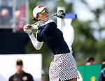 DES MOINES, IA - AUGUST 20: USA's Michelle Wie watches her tee shot on the first hole during her singles match Sunday morning at the 2017 Solheim Cup in Des Moines, IA. (Photo by Dave Eggen/Inertia)