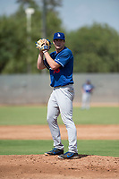 Los Angeles Dodgers relief pitcher Nathan Witt (38) gets ready to deliver a pitch during an Instructional League game against the Milwaukee Brewers at Maryvale Baseball Park on September 24, 2018 in Phoenix, Arizona. (Zachary Lucy/Four Seam Images)