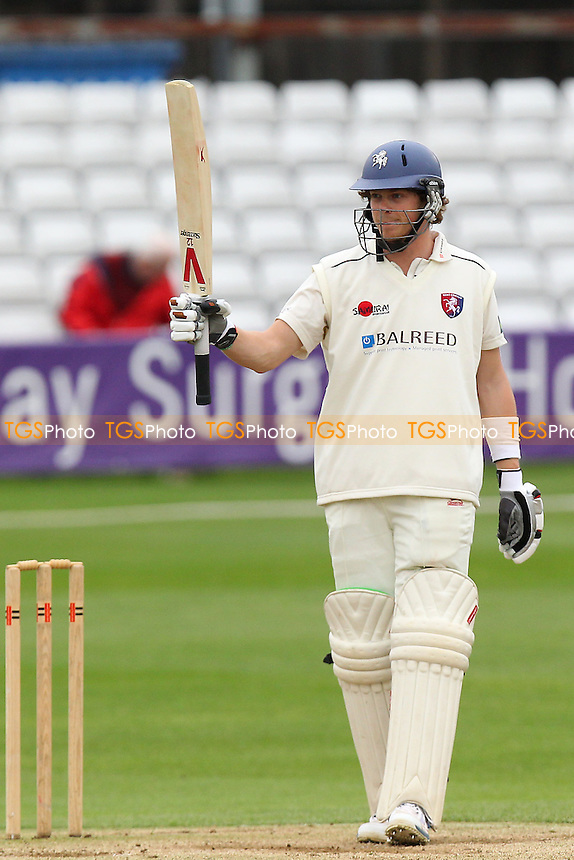 Sam Northeast of Kent celebrates a century, 100 runs for his team - Essex CCC vs Kent CCC - Pre-Season Friendly Cricket Match at the Essex County Ground, Chelmsford - 04/04/14 - MANDATORY CREDIT: Gavin Ellis/TGSPHOTO - Self billing applies where appropriate - 0845 094 6026 - contact@tgsphoto.co.uk - NO UNPAID USE