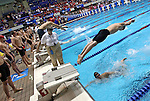 24 MAR 2012:  General view of the 400 yard freestyle relay event during the Division III Mens and Womens Swimming and Diving Championship held at the IU Natatorium in Indianapolis, IN.  Michael Hickey/NCAA Photos