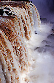 Iguassu Falls, Parana State, Brazil. Close view of the waterfalls.