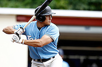 14 July 2011: Jeff Lundell of Senart Templiers is seen at bat during the 2011 Challenge de France match won 12-9 by the Senart Templiers over Pessac Pantheres, at Stade Pierre Rolland, in Rouen, France.