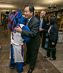 Dr. Gabriel Esteban, president-elect of DePaul University, is greeted by DIBS Thursday, February 16, 2017, at the Student Center on the Lincoln Park Campus during a student lunch and reception. Dr. Esteban was named the university's 12th president during a day of welcoming events at both the Loop and Lincoln Park Campuses. Students gathered upstairs at the center with DIBS, the university's mascot, to meet the new president. Dr. Esteban will succeed the Rev. Dennis H. Holtschneider, C.M., who has served as president since July 2004 and was recently named the executive vice president and chief operations officer at Ascension, a faith-based health care organization. (DePaul University/Jamie Moncrief)