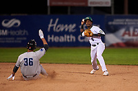 Beloit Snappers shortstop Marcos Brito (6) turns a double play during a Midwest League game against the Lake County Captains at Pohlman Field on May 6, 2019 in Beloit, Wisconsin. Lake County defeated Beloit 9-1. (Zachary Lucy/Four Seam Images)