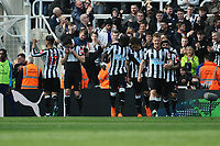 Ayoze Perez of Newcastle United celebrates scoring the equaliser during Newcastle United vs Arsenal, Premier League Football at St. James' Park on 15th April 2018