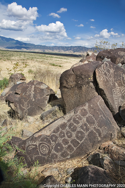 Mysterious petroglyphs adorn stones overlooking the Sacramento Mountains at Three Rivers State Park near Tularosa, New Mexico