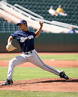 Efrain Nieves / Helena Brewers pitching against the Ogden Raptors in a Pioneer League game in Ogden, UT - 08/10/2008..Photo by:  Bill Mitchell/Four Seam Images