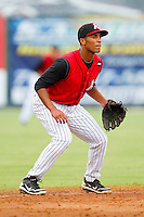 Shortstop Marcus Semien #6 of the Kannapolis Intimidators on defense against the Lakewood BlueClaws at Fieldcrest Cannon Stadium on July 16, 2011 in Kannapolis, North Carolina.  The Intimidators defeated the BlueClaws 5-3.   (Brian Westerholt / Four Seam Images)