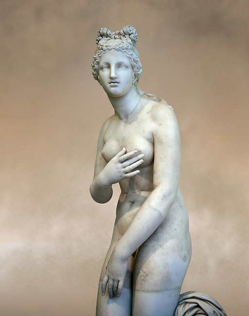 Close up  tree quarter view of 2nd century AD Roman marble sculpture of Aphrodite (Venus), 'Dresden Capitoline Type, copied from a Hellanistic Greek original,  inv 6238, Museum of Archaeology, Italy