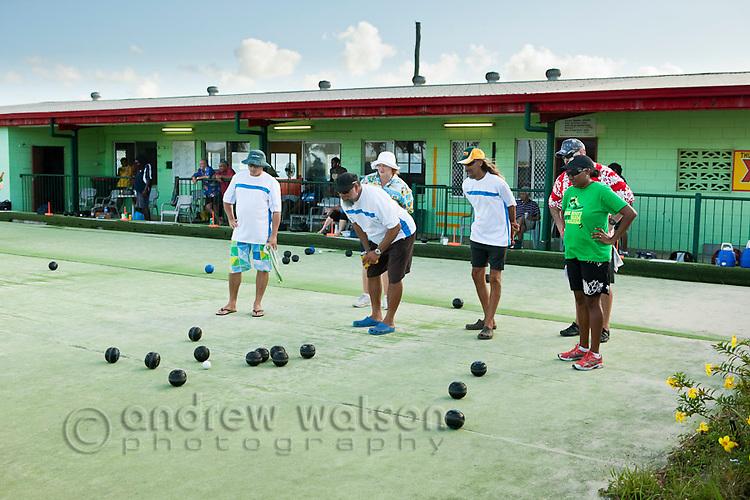Men playing lawn bowls at the Thursday Island Bowls club.  Thursday Island, Torres Strait Islands, Queensland, Australia