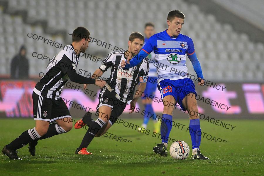 Fudbal Jelen Super League season 2015-2016<br /> Partizan v Borac (Cacak)<br /> Dusan Jovancic (R) Darko Brasanac and Andrija Zivkovic (L)<br /> Beograd, 16.12.2015.<br /> foto: Srdjan Stevanovic/Starsportphoto&copy;