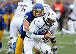 SIOUX FALLS, SD - NOVEMBER 3: Christian Rozeboom #2 from South Dakota State brings down quarterback Peyton Huslig #15 from Missouri State during their game Saturday afternoon at Dana J. Dykhouse Stadium in Brookings. (Photo by Dave Eggen/Inertia)