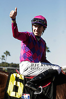 Joe Talamo aboard Obviously (IRE) winner of the Del Mar Mile at Del Mar Race Course in Del Mar, California on August 26, 2012.