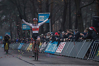 David Van Der Poel (NED/Beobank Corendon) finishing 1st. <br /> <br /> men's elite race<br /> Lampiris Zilvermeercross Mol / Belgium 2017