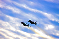 A pair of jets perform a flyover before the Gatorade Dual 150 qualifying races for the Daytona 500 at Daytona International Speedway, Daytona Beach, FL, February 11, 2010.  (Photo by Brian Cleary/www.bcpix.com)