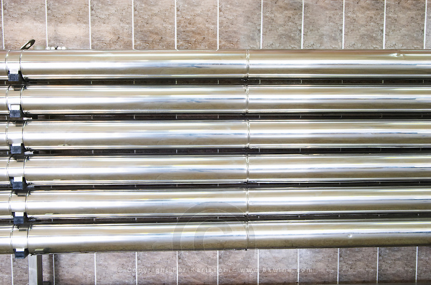 Stainless steel cooling coils to cool the must Kantina Miqesia or Medaur winery, Koplik. Albania, Balkan, Europe.