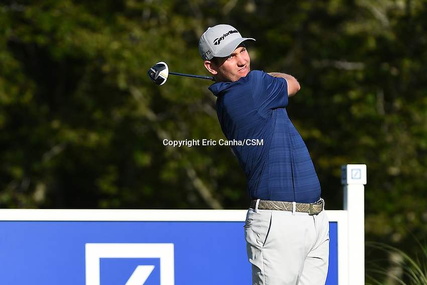 August 29, 2014 -  Norton, Mass. -  Brendon Todd watches the flight of his ball from the 17th tee during the first round of the PGA Deutsche Bank Championship held at the Tournament Players Club in Norton Massachusetts. Eric Canha/CSM