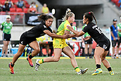 3rd February 2019, Spotless Stadium, Sydney, Australia; HSBC Sydney Rugby Sevens; New Zealand versus Australia; Womens Final; Samantha Treherne of Australia is tackled by Tyla Nathan-Wong and Theresa Fitzpatrick of New Zealand