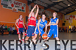 Emma Sherwood Tralee Imperials attacks the basket marshalled by Orla Connolly Singeltons Brunell in the Premier Ladies final at the St Mary's blitz on Tuesday night