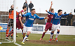 Fraser Aird celebrates his late winner for Rangers at Gayfield