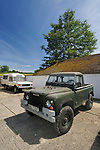 1978 Land Rover 100in V8 Swiss Army Prototype - BAC 779T. In the background a 1970 Range Rover VELAR pre-production, first to be converted to an Ambulance - YVB 158H. Dunsfold Collection of Land Rovers 2011, Dunsfold, Surrey, UK. --- No releases available, but releases may not be necessary for certain uses. Automotive trademarks are the property of the trademark holder, authorization may be needed for some uses. --- Vehicle Information: Vehicle belongs to the Dunsfold Collection of Land Rovers: Chassis number 100S2M04X, registration number BAC 779T, engine type 3.5 V8 petrol 24V, gearbox type 4-speed. --- Vehicle History: This is one of a round 25 100in prototypes for the Swiss and French Army in 1978. Originally built as LHD, BAC was converted to RHD in the early eighties. A 24 Volt screened electrical system is used. There were quite a few body styles made, including Hard Top, Soft Top. and Station Wagon. The chassis were a one of for these vehicles, the axles were Range Rover, as were the engine and gearbox, some were fitted with automatic gearboxes and 2.25 petrol engines.The 100 inch wheelbase has inspired many enthusiasts to take an old Range Rover chassis and fit a Land Rover style body.