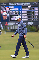 Zach Johnson (USA) after sinking his putt on 1 during Round 3 of the Valero Texas Open, AT&amp;T Oaks Course, TPC San Antonio, San Antonio, Texas, USA. 4/21/2018.<br /> Picture: Golffile   Ken Murray<br /> <br /> <br /> All photo usage must carry mandatory copyright credit (&copy; Golffile   Ken Murray)