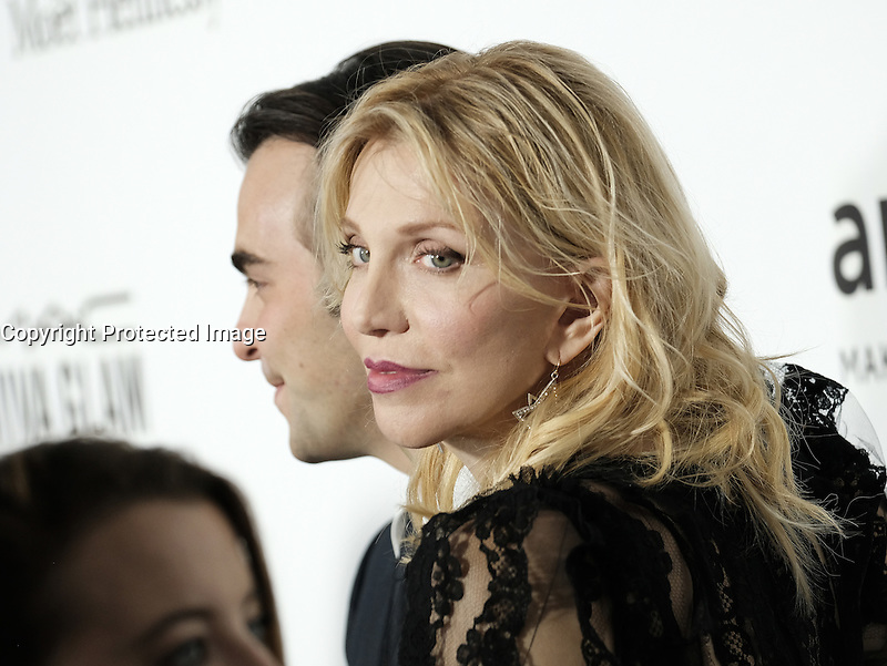 Courtney Love + Nicholas Jarecki @ the 2016 amfAR's Inspiration Gala held @ the Milk studios.<br /> October 27, 2016 , Los Angeles, USA. # SOIREE 'AMFAR'S INSPIRATION GALA 2016' A LOS ANGELES