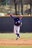 High Point Panthers shortstop Tony Fortier-Bensen (8) makes a throw to first base against the UNCG Spartans at Willard Stadium on February 14, 2015 in High Point, North Carolina.  The Panthers defeated the Spartans 12-2.  (Brian Westerholt/Four Seam Images)