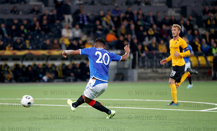 03.10.2019 Young Boys of Bern v Rangers: Alfredo Morelos scores for Rangers