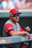 Dominican Republican manager Tony Pena (14) in the dugout during a Spring Training exhibition game against the Baltimore Orioles on March 7, 2017 at Ed Smith Stadium in Sarasota, Florida.  Baltimore defeated the Dominican Republic 5-4.  (Mike Janes/Four Seam Images)